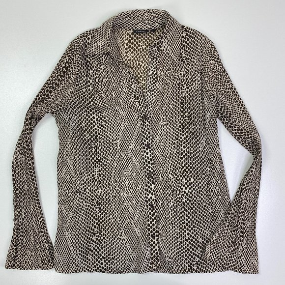 y2k Animal Print Button Down Pleated Bell Sleeve